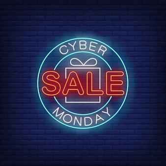 Cyber monday sale neón de texto en círculo