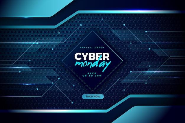 Cyber monday de tecnología realista en tonos azules