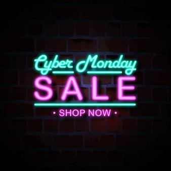 Cyber monday venta ilustración de signo de estilo de neón