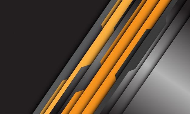 El cyber plateado metálico gris amarillo abstracto se superpone en el fondo negro de la tecnología futurista moderna del estilo del diseño.
