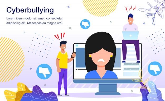 Cyberbullying en redes sociales flat