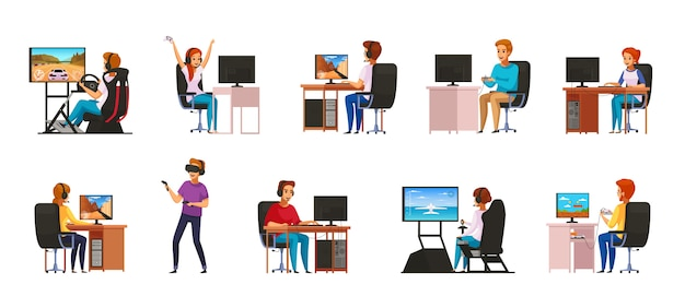 Cybersport juegos competitivos de deportes de computadora competitivos jugando colección de personajes de dibujos animados con equipo de realidad virtual aislado
