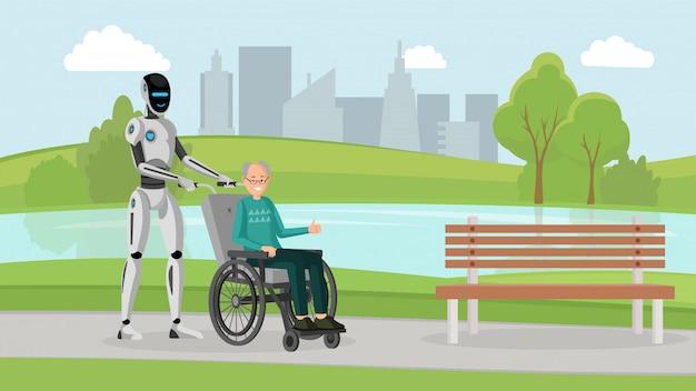 Cyborg con anciano al aire libre