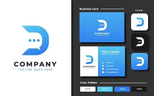 D inicial con plantilla de logotipo de concepto de chat de burbujas