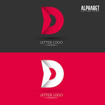 D letter origami style logotipo