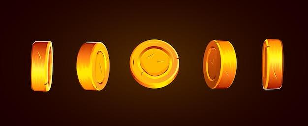 D monedas aisladas de oro establecen diferentes posiciones volando monedas de oro fondo de lluvia dorada premio mayor o concepto de éxito