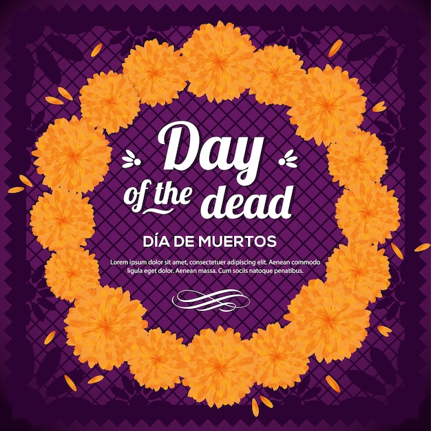 Da de muertos (día de los muertos en español) corona floral - composición del espacio de copia