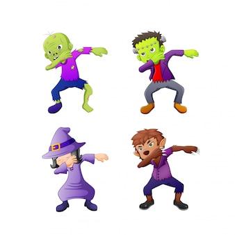 Dabbing dibujos animados disfraces de halloween