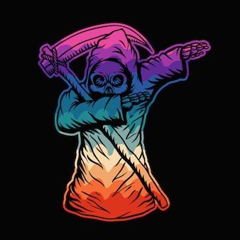 Dabbing, muerte, cráneo, colorido, ilustración