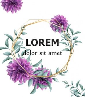 Dahlia flores púrpura marco tarjeta acuarela