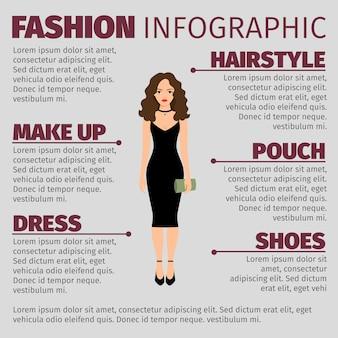 Dama en vestido negro de moda ifnographic