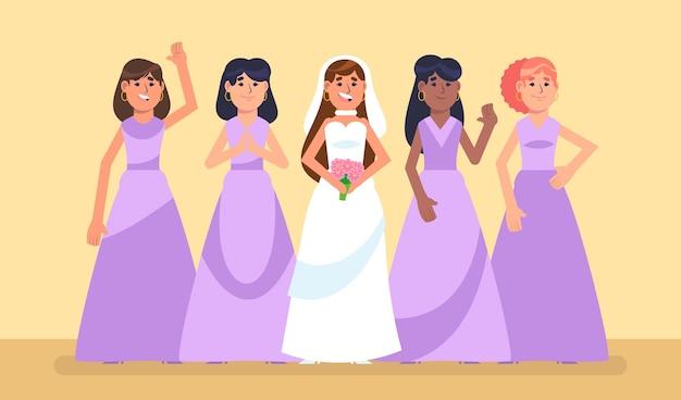 Damas de honor de diseño plano ilustradas