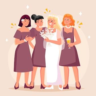 Damas de honor planas orgánicas celebrando un día importante