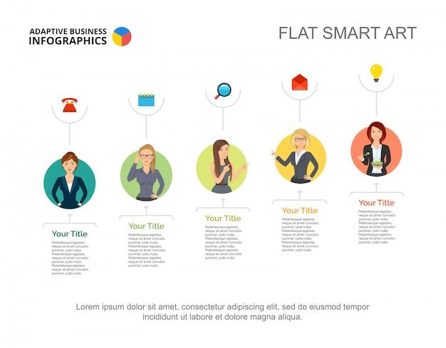Damas de negocios en plantilla de diapositiva de la empresa. gráfico. concepto creativo para infografía
