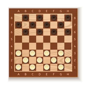 Damas y tablero de ajedrez. fichas blancas y negras colocadas en el tablero. antiguo juego de mesa intelectual. ilustración