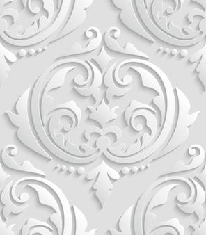 Damasco blanco 3d patrón sin costuras