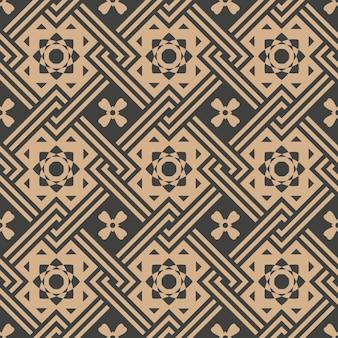 Damasco sin fisuras patrón retro cheque de fondo geometría cuadrada marco cruzado cadena estrella flor.