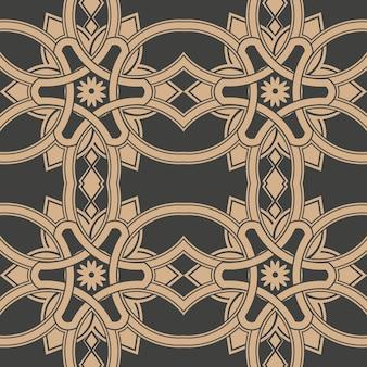 Damasco sin fisuras patrón retro fondo curva cruz marco cadena flor.