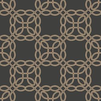 Damasco sin fisuras patrón retro fondo curva línea de cadena de marco cruzado.