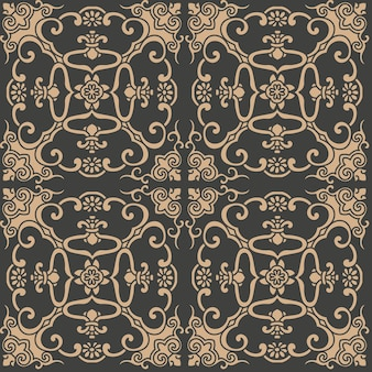 Damasco sin fisuras patrón retro fondo espiral curva cruz marco oriental cadena hoja vid flor.