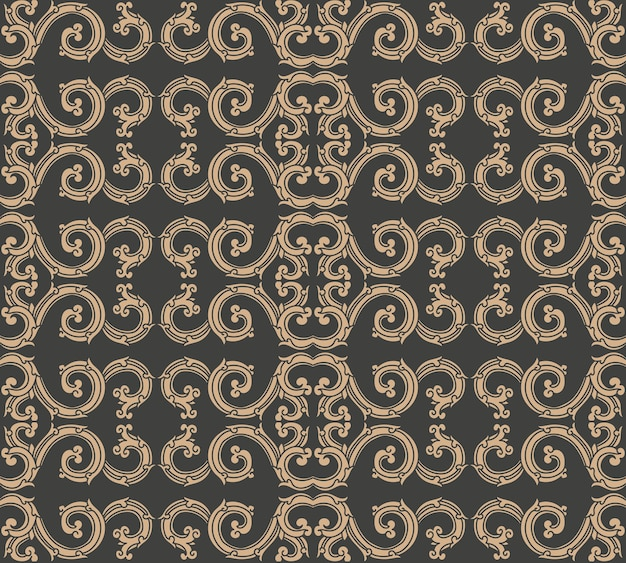 Damasco sin fisuras patrón retro fondo espiral vórtice curva cruzada cresta de cadena de marco oriental.