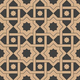 Damasco sin fisuras patrón retro fondo estrella geometría cruz marco cadena.