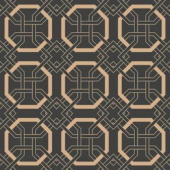 Damasco sin fisuras patrón retro fondo oriental polígono geometría cruz marco cadena.