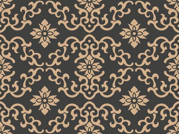 Damasco sin fisuras patrón retro fondo oriental redondo espiral curva cruz marco hoja de vid cadena de flores.