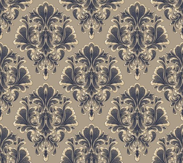 Damasco sin fisuras en relieve de trama de fondo. ornamento de damasco antiguo de lujo clásico, textura perfecta victoriana real. vintage exquisita plantilla barroca floral.