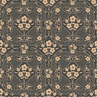 Damasco de fondo sin fisuras patrón adorno de damasco antiguo de lujo clásico