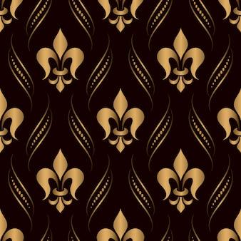 Damasco ornamental de patrones sin fisuras dorado