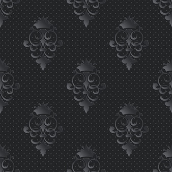 Damasco ornamental de patrones sin fisuras oscuro