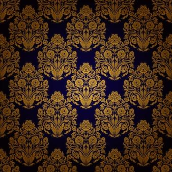 Damasco patrón floral sin fisuras.