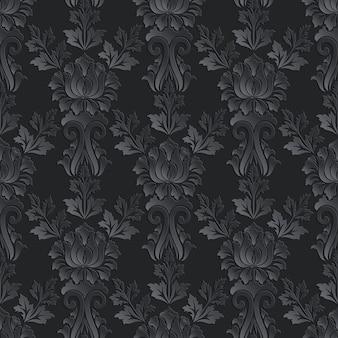 Damasco de patrones sin fisuras fondo oscuro