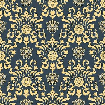 Damasco de patrones sin fisuras. fondo de repetición, telón de fondo de decoración, ilustración de vector de tela