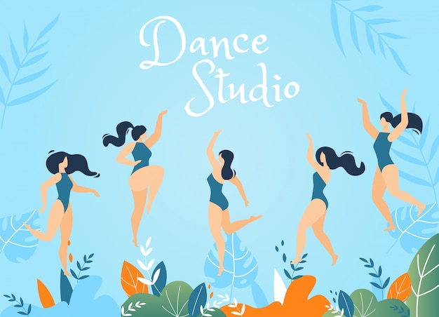 Dance studio lettering ilustración de bienvenida con bailarines
