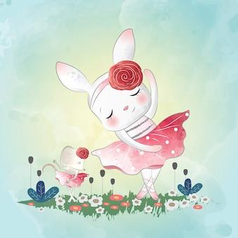 Dancing bunny con pequeño ratón