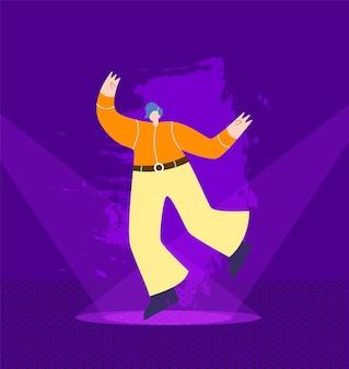 Dancing man in cowboy outfit en el escenario de club nocturno