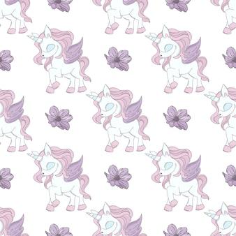 Dancing unicorn fairy tale seamless pattern