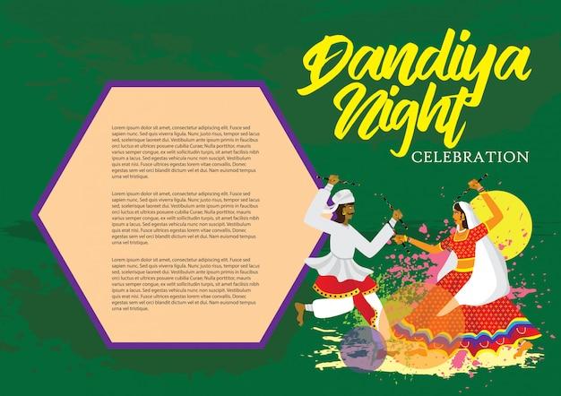 Dandiya noche celebración ilustración vectorial