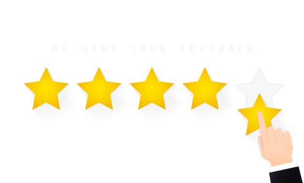 Dando calificación de cinco estrellas. revisar. queremos su ilustración de comentarios. concepto de retroalimentación positiva.