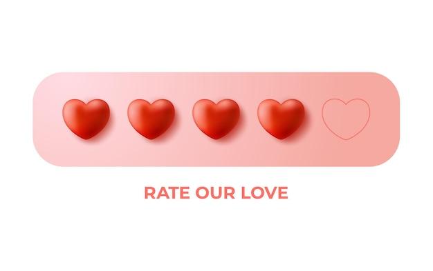Dando cinco concepto de calificación de corazón. concepto de estado de revisión, retroalimentación o satisfacción. san valentín, califica nuestro amor.