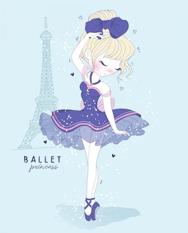 Danza de ballet linda chica dibujada a mano con escena de parís