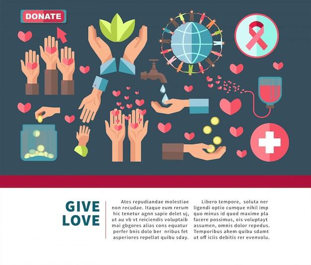 Dar amor donar cartel agitativo para unirse a la caridad.