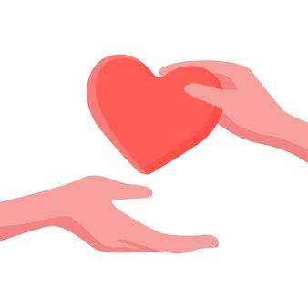 Dar y cuidar y ayudar al concepto con el corazón y la mano. ilustración