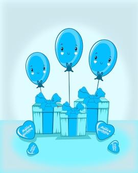 Dar con tres globos de emoticonos y globos de amor