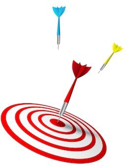 Dardos coloridos golpeando un objetivo