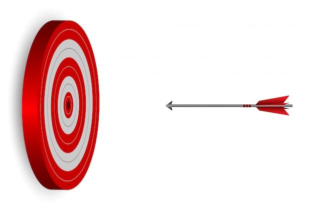 Dardos de una flecha roja en círculo objetivo