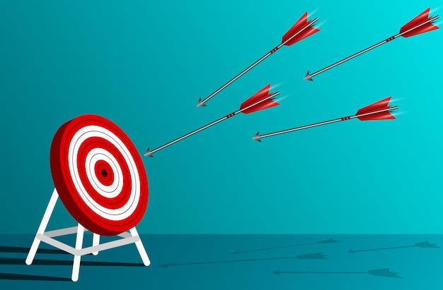 Los dardos de flechas rojas van a la ilustración del círculo objetivo