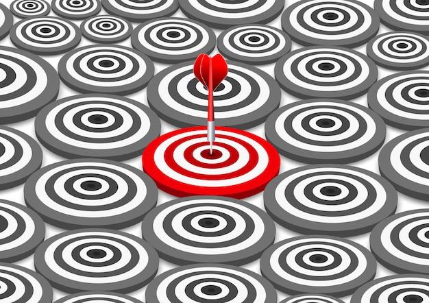 Dardos rojos diana concepto de éxito del negocio. ilustración de idea creativa aislada